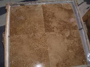walnut travertine honed filled tile