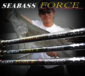 fishing rod sea bass force fuji sic guide body snvc carbon fibre