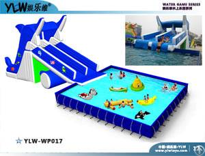 Pipe Frame Pool With Inflatable Slide, 0.9mm Pvc Tarpaulin Plato Water Parks, Brackets Swimming Pool