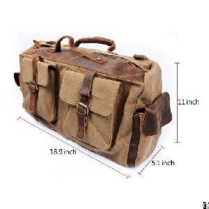 Canvas Leather Duffel Weekend Tote Bag Travel Luggage Overnight Bag