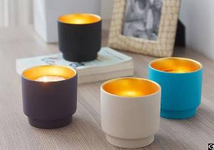 ceramic candle cups shiny reflection containers