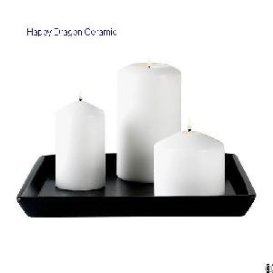 ceramic pillar candle trays holders