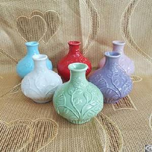 flower embossed ceramic reed diffuser bottles