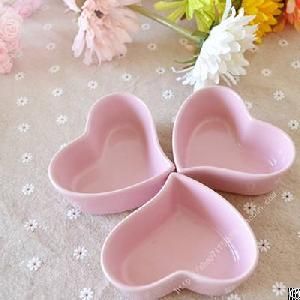 pink heart shape ceramic candle containers jars