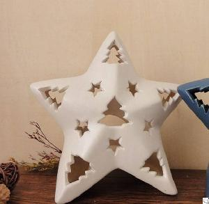 star ceramic tea light candle holders cutout stand