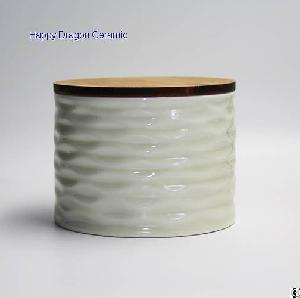 wrinkle ceramic candle jars bamboo lid containers