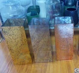 Mercury Gold Glass Square Vases