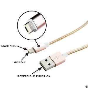 Usb Am To Lightning With Micro B Reversible Cable