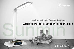 Bluetooth Speaker, Radio, Alarm Clock, Wireless Charge Usb Smart Desk Lamp, Stepless Touch Dimmable,
