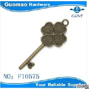 Clover Shape Zinc Alloy Antique Brass Metal Zipper Slider