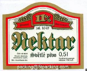 Printing Beer Labels By Aluminium Coated Paper