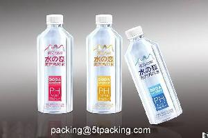 Transparent Pe Plastic Adhesive Labels In Soda Water Summer Flowers Brand Bottle