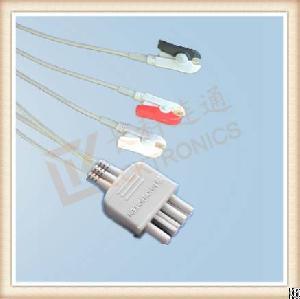 Nihon Kohden Ecg Leadwires, Cable 3 Leads, Grabber, Iec, L 0.8m