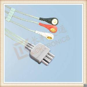 Nihon Kohden Ecg Leadwires, Cable 3 Leads, Snap, Aha, L 0.8m