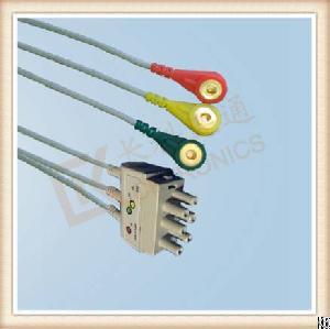 Nihon Kohden Ecg Leadwires, Cable 3 Leads, Snap, Iec, L 0.8m