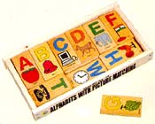wooden alphabet picture matching