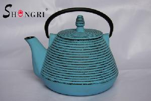 blue cast iron tea kettle