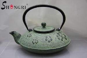cast iron tea kettle flower