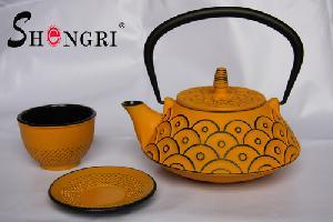 cast iron tea pot enamel coated