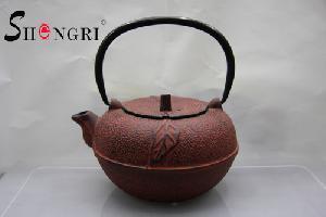 cast iron tea pot leaf