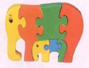 wooden jigsaw puzzle elephant