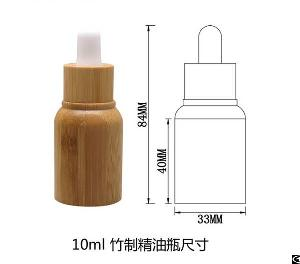 10ml cosmetic oil galss bottle outer bamboo
