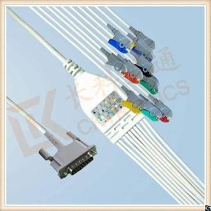 Custom Philips One Piece Ecg Cable 10 Leadwires Clip, Iec