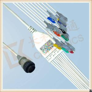 Low Cost Kenz Pc 104 One Piece Ecg Cable 10 Leadwires Clip, Iec