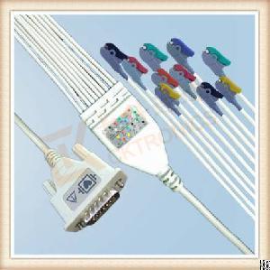 Nice Spacelabs Sl6 One Piece Ecg Cable 10 Leadwires Clip, Iec