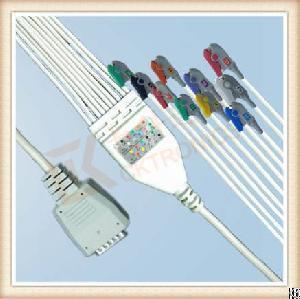 Nihon Kohden Bj900p One Piece Ecg Cable 10 Leadwires Clip, Aha