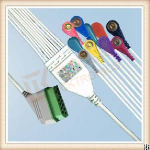 Nihon Kohden Bj900p One Piece Ecg Cable 10 Leadwires Snap, Aha