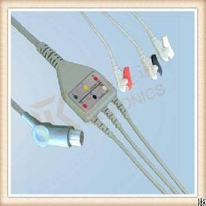 Sw Artema One Piece Ecg Cable, Cable 3 Leads, Grabber, Aha