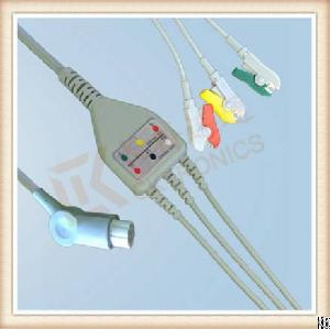 Sw Artema One Piece Ecg Cable, Cable 3 Leads, Grabber, Iec
