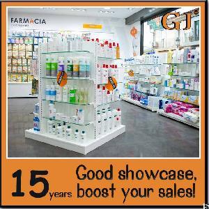 Cheaper Chinese Glass Gondola Display Pharmacy Floor Stand Rack