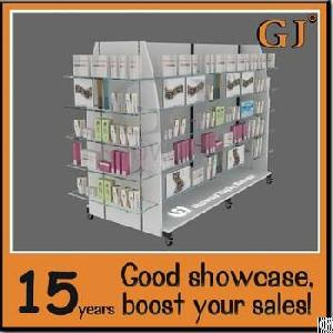 Movable Retail Store Gondola 4 Ways Display Shelves Tempered Glass Display Stand