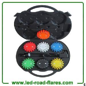 Six 6 Packs Led Road Flares Rechargeable Amber Orange Black White Green Blue Yellow Red