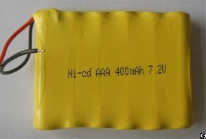 Rechargeable Ni-cd 7.2v 6xaaa 400mah Battery Pack With Leading Wires