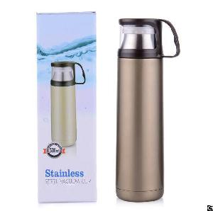 Zc-gz-d Stainless Steel Thermos Bottle, Vacuum Insulated Water Bottle With Handle Cup For Hot