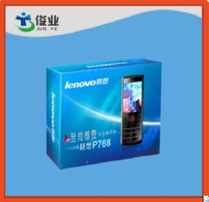 blue lenovo mobile phone paper box