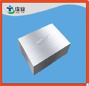 decorative magnetic closure gift box gray logo embossed