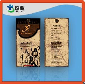 Famous Brand Classic Origin Jeans Hang Tags