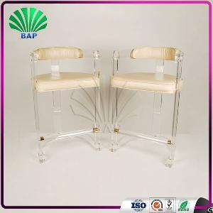 acrylic leisure chair tall plexiglass lucite bar stool backrest