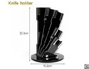 stainless steel 6pcs kitchen knife wooden handle block