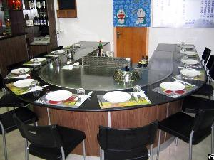 12 seats stainless steel arched shape teppanyaki grill table