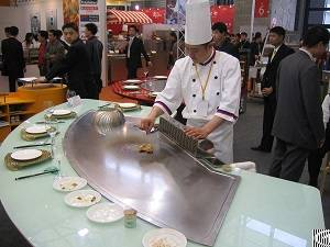 9 seats fan shape gas heating french teppanyaki grill table