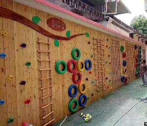 kindergarten children wooden tire outdoor climbing drill slide amusement equipment