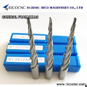 conical tapered foam mill cnc router bits milling tools edge taper ball nose