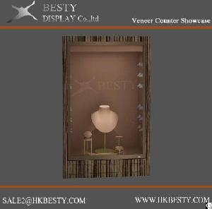 led jewelry display wall cabinet veneer finish