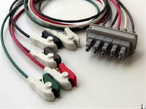 5 leads ecg cable clip electrode