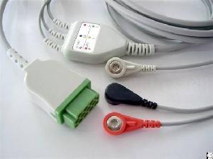 ge aha 3 12pin reusable ecg cable snap electrode